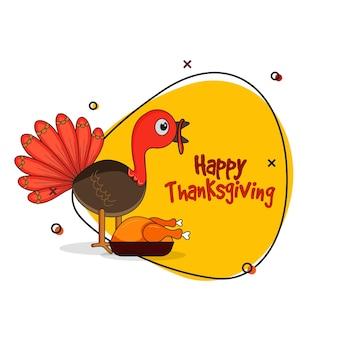Design de cartaz de ação de graças feliz com pássaro de peru dos desenhos animados, frango assado em fundo amarelo e branco.