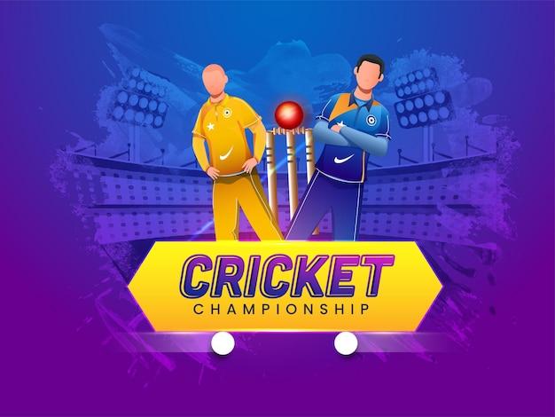 Design de cartaz de campeonato de críquete com jogador de críquete sem rosto das equipes participantes em fundo de estádio de efeito de pincel azul e roxo.