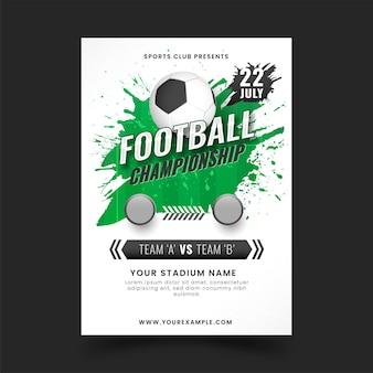 Design de cartaz de campeonato de futebol com efeito de pincel verde.