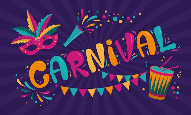 Design de cartaz de carnaval com máscara, guirlanda e tambor