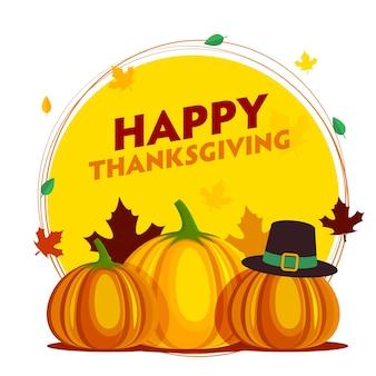 Design de cartaz de celebração de ação de graças feliz com abóboras, chapéu de peregrino e folhas de outono caindo sobre fundo amarelo e branco.