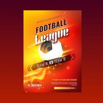 Design de cartaz de competições para a liga de futebol com efeito de luzes.