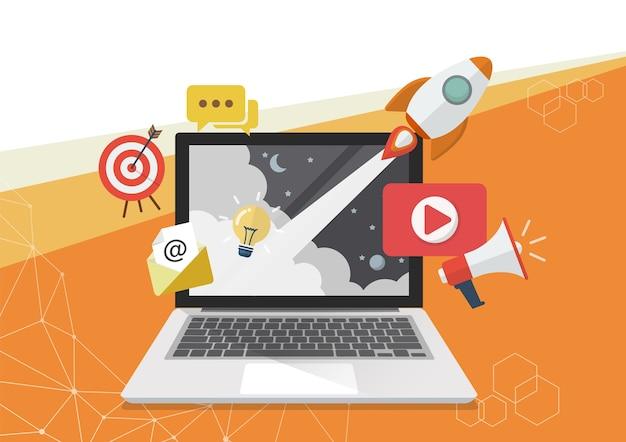 Design de cartaz de conceito de marketing digital