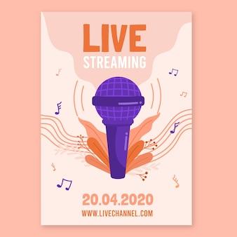 Design de cartaz de concerto de música de transmissão ao vivo