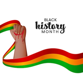Design de cartaz de consciência de mês de história negra com a mão segurando sangue e fita ondulada em fundo branco.