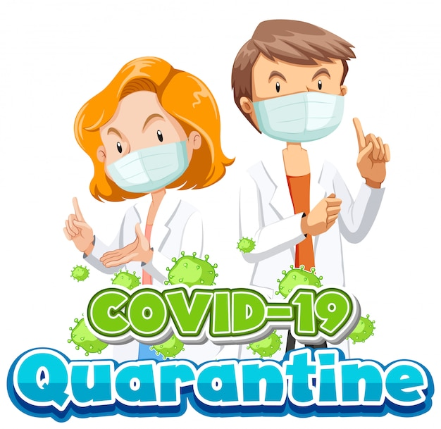 Design de cartaz de coronavírus com dois médicos