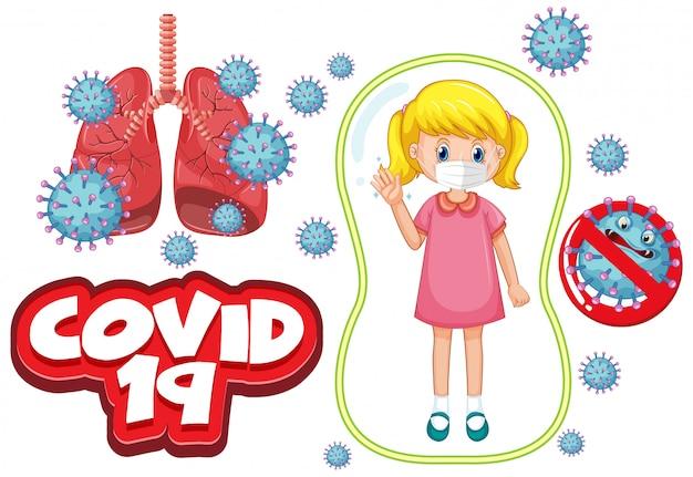 Design de cartaz de coronavírus com garota doente usando máscara