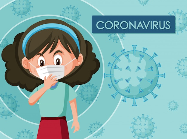 Design de cartaz de coronavírus com garota usando máscara