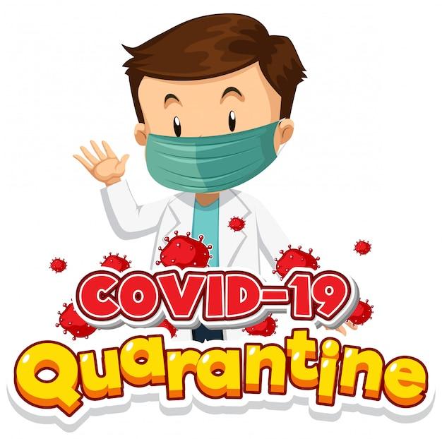 Design de cartaz de coronavírus com médico usando máscara