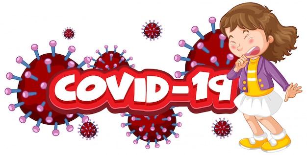 Design de cartaz de coronavírus com palavra e menina doente tossindo