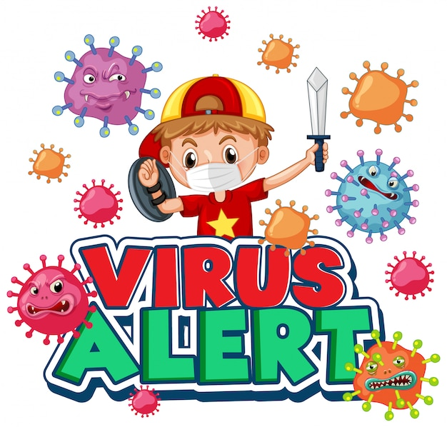 Design de cartaz de coronavírus com palavra e menino brincando