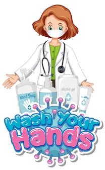 Design de cartaz de coronavírus com palavra lavar as mãos e médico usando máscara