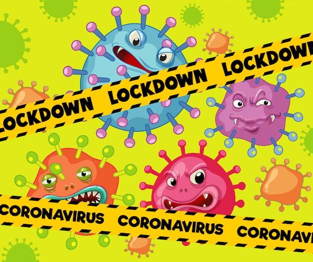 Design de cartaz de coronavírus para bloqueio de palavra com células de vírus