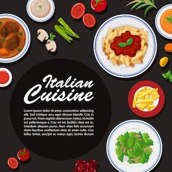 Design de cartaz de cozinha italiana com diferentes pratos