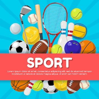 Design de cartaz de esporte de equipamentos diferentes no fundo e lugar para o seu texto. vector illustratio