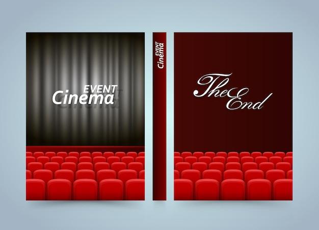 Design de cartaz de estreia de cinema. livro de filme banner. papel de tamanho a4, elemento de design de modelo, plano de fundo vector