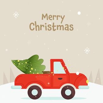 Design de cartaz de feliz natal com árvore de natal em jipe e fundo de neve bege.