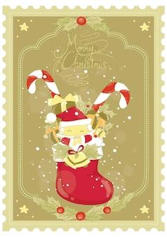 Design de cartaz de feliz natal com boneco de neve chapéu de papai noel caixa de presente de bastão de doces e partículas de gelo