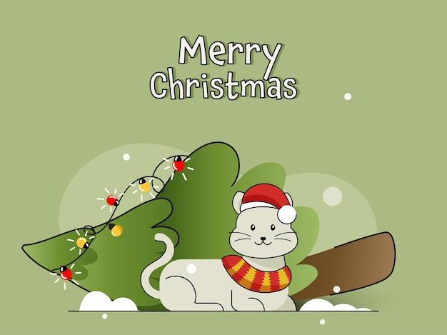 Design de cartaz de feliz natal com gato de desenho animado usando boné de papai noel e queda de árvore de natal sobre fundo verde.