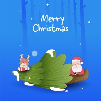 Design de cartaz de feliz natal com papai noel fofo, renas e árvore de natal sobre fundo azul.