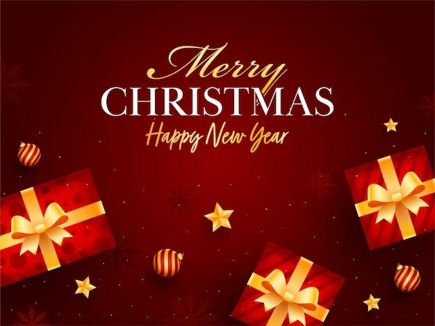 Design de cartaz de feliz natal e feliz ano novo