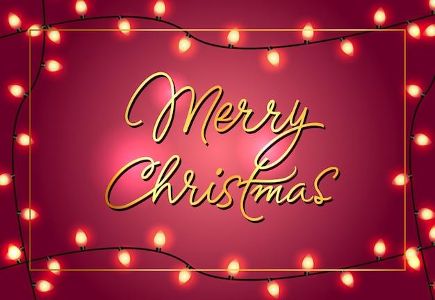Design de cartaz de feliz natal. luzes brilhantes de natal