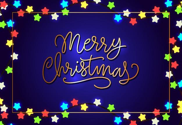 Design de cartaz de feliz natal. luzes em forma de estrela