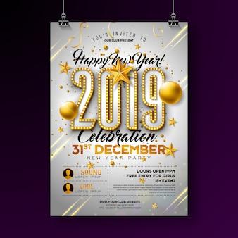 Design de cartaz de festa de ano novo de 2019