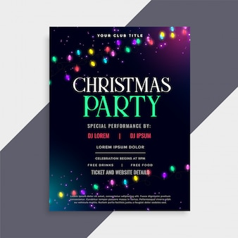 Design de cartaz de festa de natal com luzes de decoração