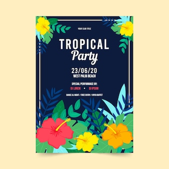 Design de cartaz de festa tropical