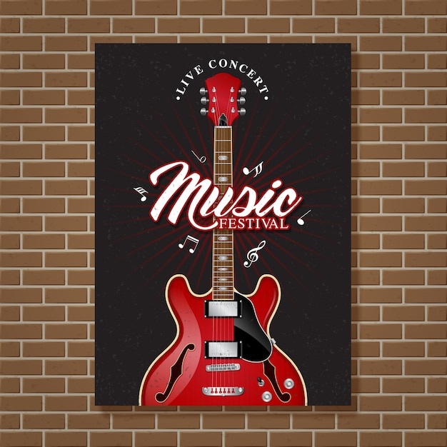 Design de cartaz de festival de música de jazz de guitarra