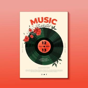 Design de cartaz de festival de música de vinil