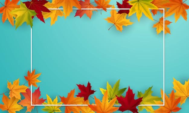 Design de cartaz de fundo outono à venda decorado com folhas coloridas