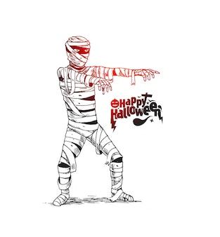 Design de cartaz de halloween com fantasia de múmia zumbi, esboço desenhado à mão de fundo vector.