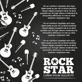 Design de cartaz de lousa de estrela de rock