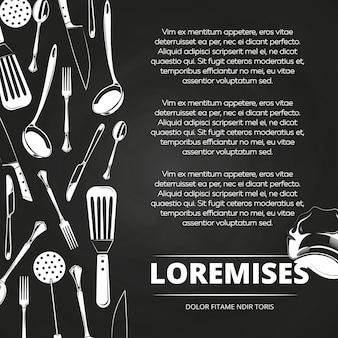 Design de cartaz de lousa vintage restaurante