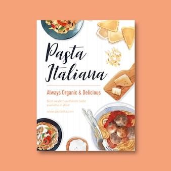 Design de cartaz de macarrão com penne, queijo, ilustração em aquarela de macarrão.