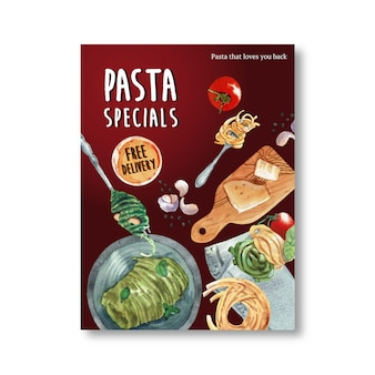 Design de cartaz de massas com queijo, ilustração em aquarela de massas.