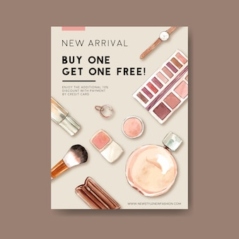 Design de cartaz de moda com cosméticos, acessórios ilustração em aquarela.