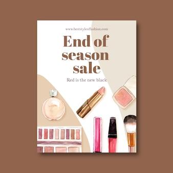 Design de cartaz de moda com ilustração em aquarela de cosméticos.