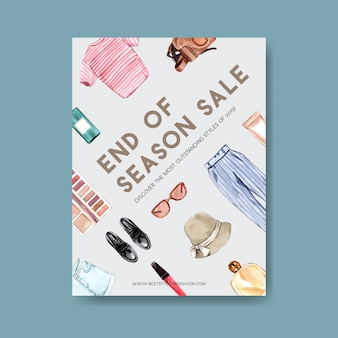 Design de cartaz de moda com roupa, cosméticos, acessórios aquarela ilustração.