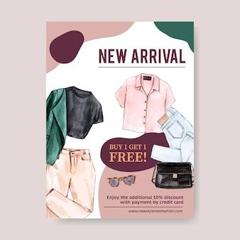 Design de cartaz de moda com roupa, ilustração em aquarela de acessórios.