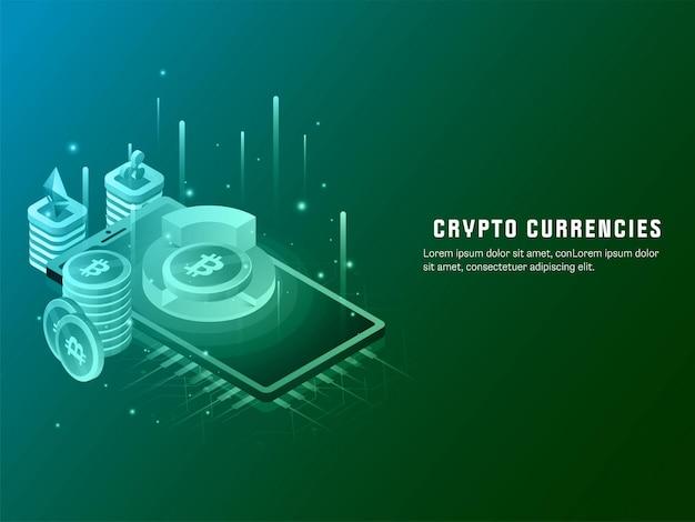 Design de cartaz de moedas criptográficas com diagrama de bitcoin 3d sobre tela do smartphone na cor verde.