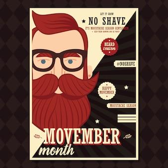 Design de cartaz de movember, conscientização do câncer de próstata, homem hipster com barba e bigode