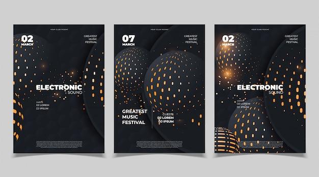Design de cartaz de música eletrônica. modelo vetorial