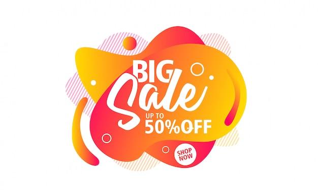 Design de cartaz de oferta especial de grande venda em forma líquida para promoção