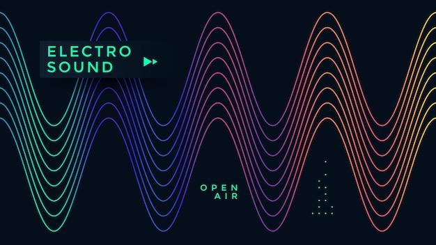 Design de cartaz de onda de música. folheto de som eletrônico com ondas de linha gradiente abstrata.
