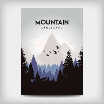 Design de cartaz de paisagem de montanha plana
