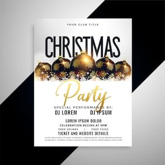 Design de cartaz de panfleto de bolas de natal de luxo