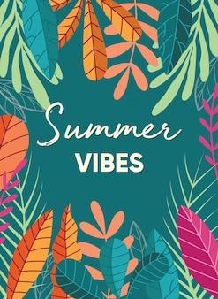 Design de cartaz de planta tropical com slogan de tipografia de vibrações de verão e vegetação tropical em fundo verde escuro. coleção de plantas exóticas.